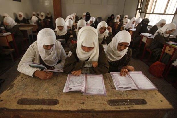 Students attend class at school in Sanaa